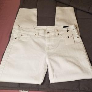 👖7FAM Sz 30 Ankle Skinny White Jeans